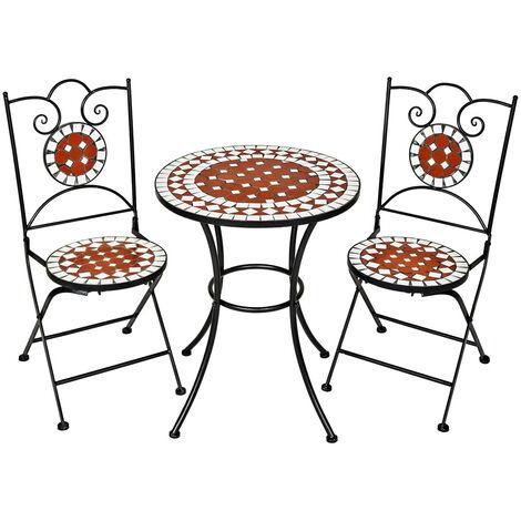 Conjunto de mesa Ø 60cm + 2 sillas mosaico - mesa mosaico de jardín con sillas, set de mesa y sillas estilo mosaico de cerámica, muebles de jardín con estructura metálica - marrón