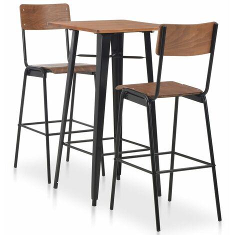 Conjunto de mesa alta con taburetes 3 piezas acero negro