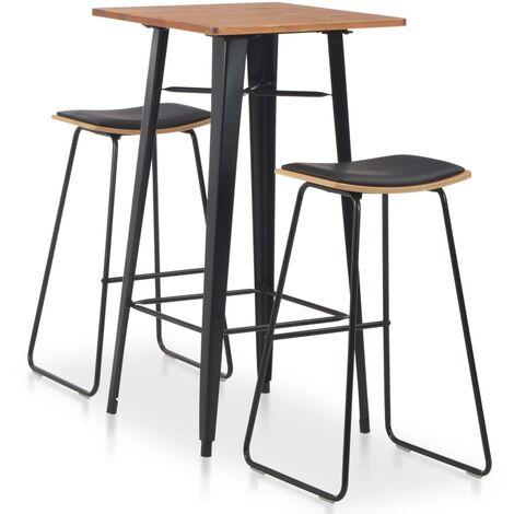 Conjunto de mesa alta y taburetes 3 piezas acero negro
