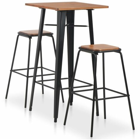 Conjunto de mesa alta y taburetes 3 piezas acero negro y marrón