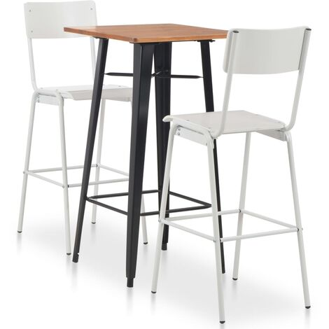 Conjunto de mesa alta y taburetes 3 pzas acero negro y blanco