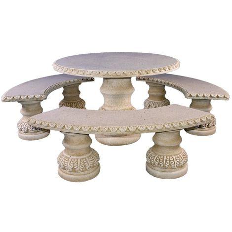 Conjunto de Mesa Carla Comedor redonda 112cm. y Bancos para jardín o exterior de hormigón-piedra Pulida