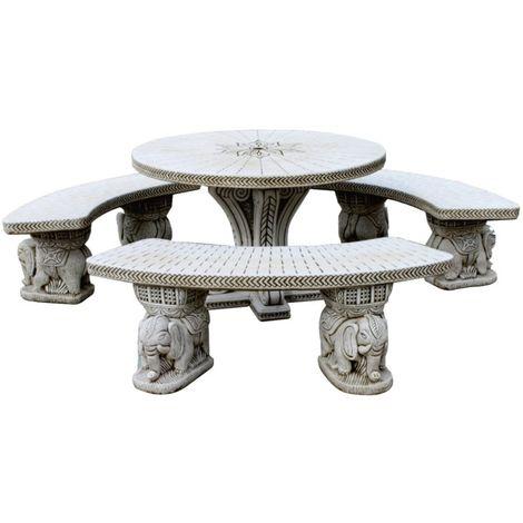 Conjunto de Mesa Comedor Indú redonda 116cm. y Bancos para jardín o exterior de hormigón-piedra