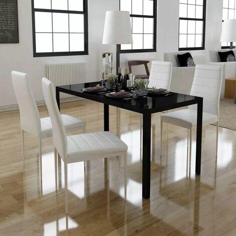 Conjunto de mesa de comedor 5 piezas blanco y negro(no se puede enviar a Baleares)