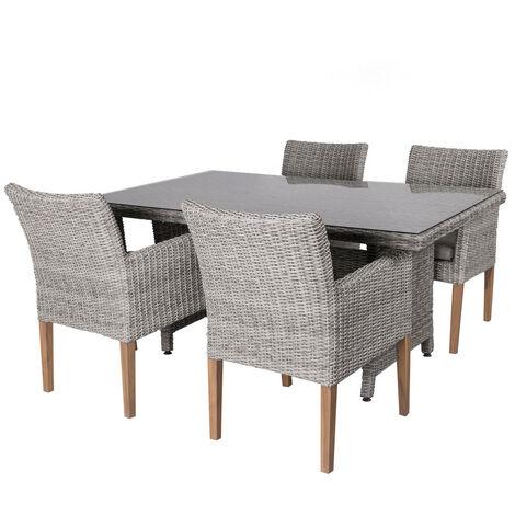 Conjunto de mesa de comedor y 4 sillas de jardín gris de rattán