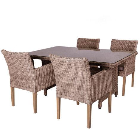 Conjunto de mesa de comedor y 4 sillas de jardín Patsy natural de rattán