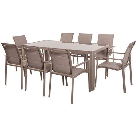 Conjunto de mesa de comedor y 8 sillas de jardín taupe de aluminio
