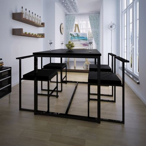 Conjunto de mesa de comedor y sillas 5 piezas negro - Negro