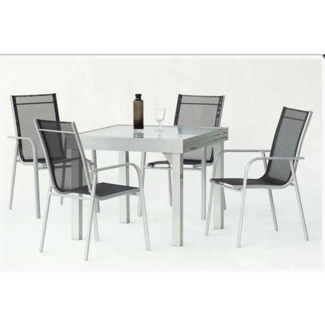 Conjunto de mesa extensible + 4 sillones en aluminio Mantua/Nora 90/180 en acabado color plata Color Plata