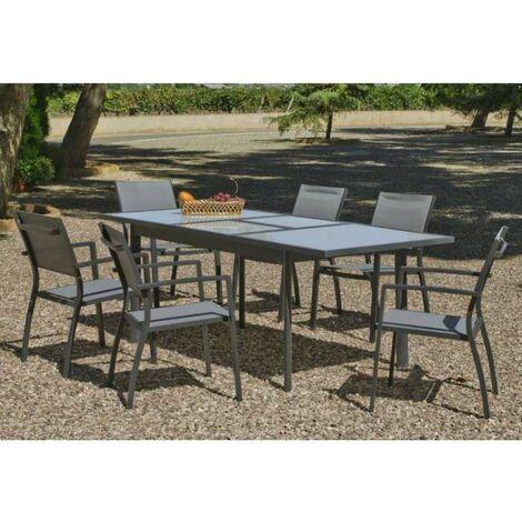 Conjunto de mesa extensible + 6 sillones Horizon-150/200/6 en acabado antracita Color gris antracita