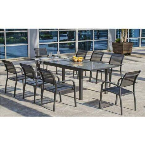 Conjunto de mesa extensible + 8 sillones Horizon/magali-240/8 en acabado antracita Color gris antracita