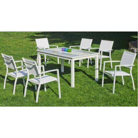 Conjunto de mesa extensible y 6 sillones aluminio Elva 150/200 en acabado blanco