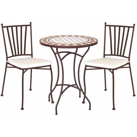Conjunto de mesa y 2 sillas de jardín apilables Helene con mosaico marrón y beige de hierro y cerámica