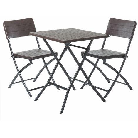 Conjunto de mesa y 2 sillas de jardín plegable Logic marrónde plástico HDPE y acero