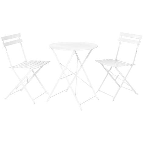 Conjunto de mesa y 2 sillas de jardín plegables Sira con láminas curvas blanco de acero