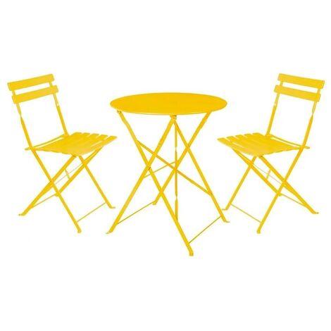 Conjunto de mesa y 2 sillas de jardín Sira con láminas curvas mostaza de acero
