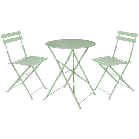 Conjunto de mesa y 2 sillas de jardín Sira con láminas curvas verde salvia de acero
