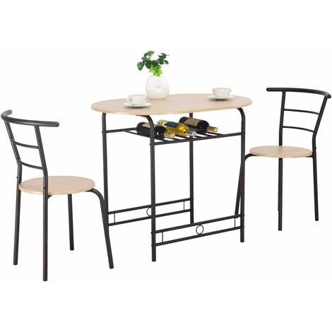 Conjunto de Mesa y 2 Sillas Set Muebles de Hierro para Comedor Cocina Terraza Natural