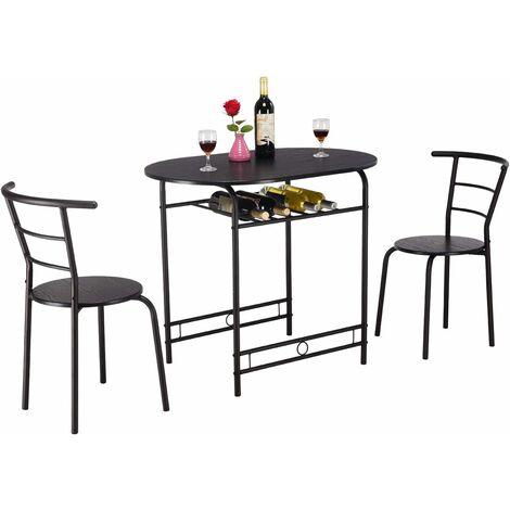 Conjunto de Mesa y 2 Sillas Set Muebles de Hierro para Comedor Cocina Terraza Negro