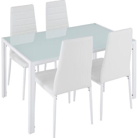 Conjunto de mesa y 4 sillas de comedor Berlín - mesa y sillas para salón, juego de mesa y sillas elegantes ligeras, asientos de comedor para casa
