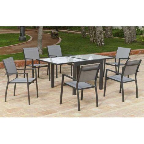 Conjunto de mesa y 4 sillones en aluminio Goa/Horizon 90/180 en acabado antracita Color Gris