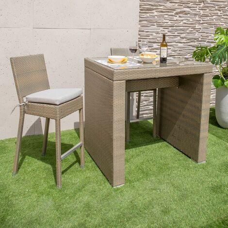 Conjunto de mesa y 4 taburetes altos de jardín taupe de rattán