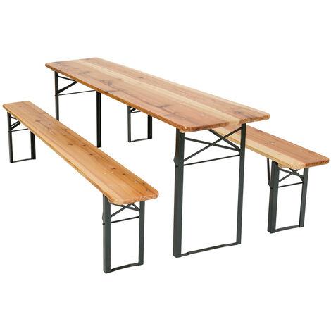 Conjunto de mesa y bancos de madera 3 piezas - mesa y bancos de jardín, mesa con bancos, pack mesa de jardín + asientos - marrón