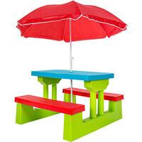 Conjunto de mesa y bancos para niños con sombrilla