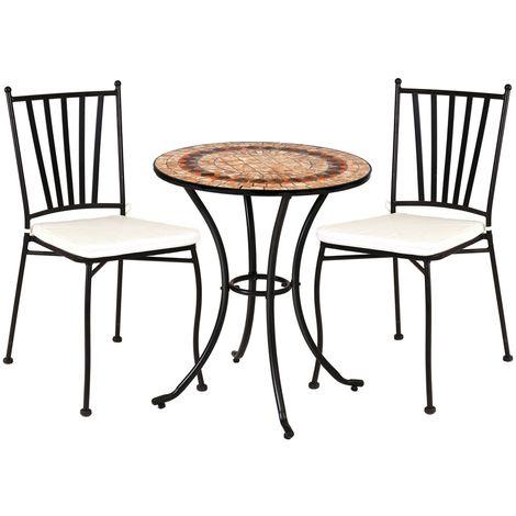 Conjunto de mesa y sillas de jardín marrón cerámica