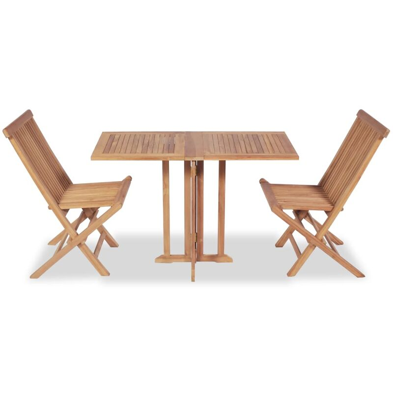 3f0aed90ffe45 Conjunto de mesa y sillas de jardín plegable de madera de teca
