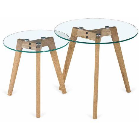 Conjunto de mesas auxiliar OVNI en acabado color roble. 45-40 cm(alto)50-40 cm(ancho)50-40cm(largo) Color Roble