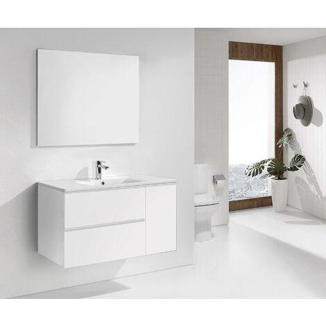 Conjunto de Mueble de Baño con Lavabo y Espejo, Suspendido a la Pared, Dos Cajones y Una Puerta, color Blanco Mate 120 x 65 x 46