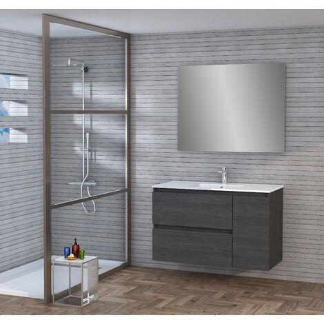 Conjunto de Mueble de Baño con Lavabo y Espejo, Suspendido a la Pared, Dos Cajones y Una Puerta, color Ceniza 100 x 65 x 46