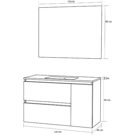 Conjunto de Mueble de Baño con Lavabo y Espejo, Suspendido a la Pared, Dos Cajones y Una Puerta, color Nature 120 x 65 x 46