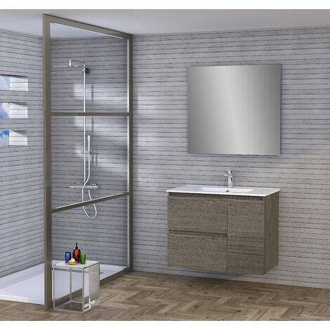 Conjunto de Mueble de Baño con Lavabo y Espejo, Suspendido a la Pared, Dos Cajones y Una Puerta, color Nebraska 120 x 65 x 46