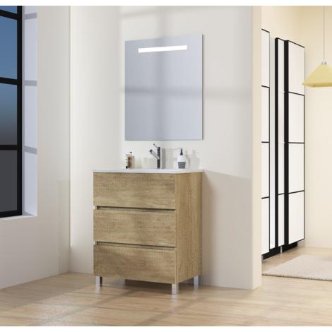 Conjunto de Mueble de Baño con Patas, Lavabo y Espejo con Luz LED, Tres Cajones, Medidas Mueble 60 X 76 X 46 cm, Color Nature