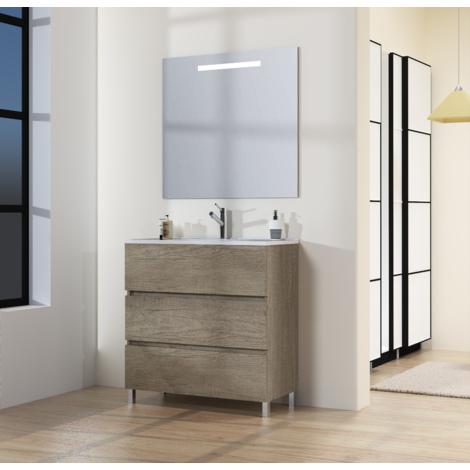 Conjunto de Mueble de Baño con Patas, Lavabo y Espejo con Luz LED, Tres Cajones, Medidas Mueble 60 X 76 X 46 cm, Color Nebraska