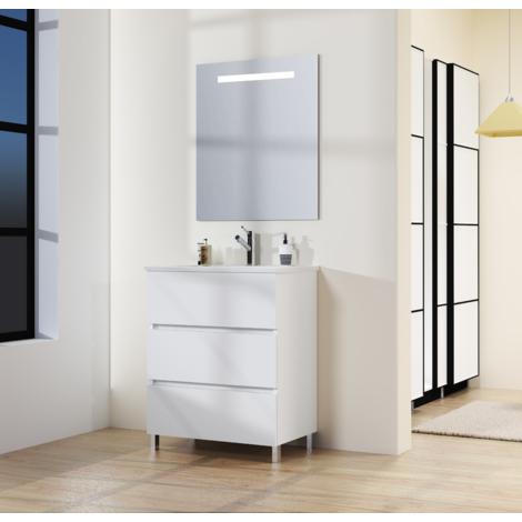 Conjunto de Mueble de Baño con Patas, Lavabo y Espejo con Luz LED, Tres Cajones, Medidas Mueble 70 X 76 X 46 cm, Color Blanco Mate,