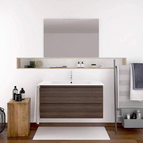Conjunto de mueble de baño suspendido LOKI con lavabo y espejo ¡¡con toallero de regalo!! varios colores y medidas en Fresno tea 100CM