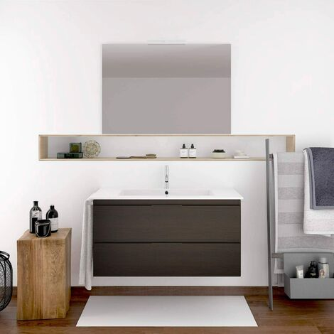 Conjunto de mueble de baño suspendido LOKI con lavabo y espejo ¡¡con toallero de regalo!! varios colores y medidas en Roble sinatra FONDO REDUCIDO 80X35CM