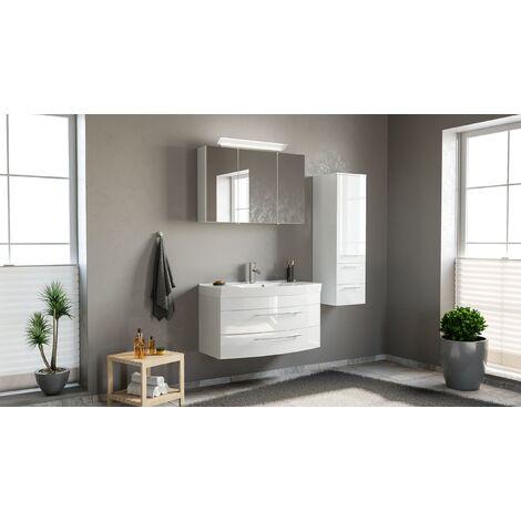 Conjunto de mueble de baño Toscana 100 3 Partes Blanco brillante