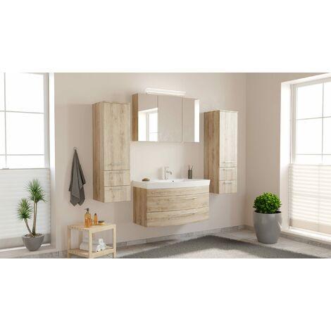 Conjunto de mueble de baño Toscana 100 4 Partes Roble claro