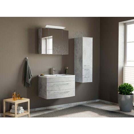 Conjunto de mueble de baño Toscana 80 3 Partes Gris hormigón