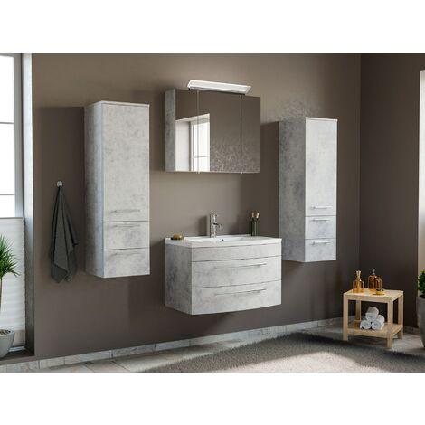 Conjunto de mueble de baño Toscana 80 4 Partes Gris hormigón
