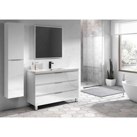 Conjunto de mueble Viena de 100 cm, color blanco lacado, encimera de porcelana y espejo Luna de 60x80.