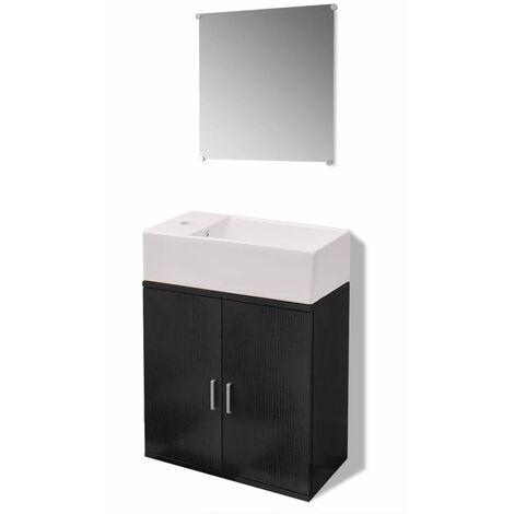 Conjunto de mueble y lavabo negro 3 piezas