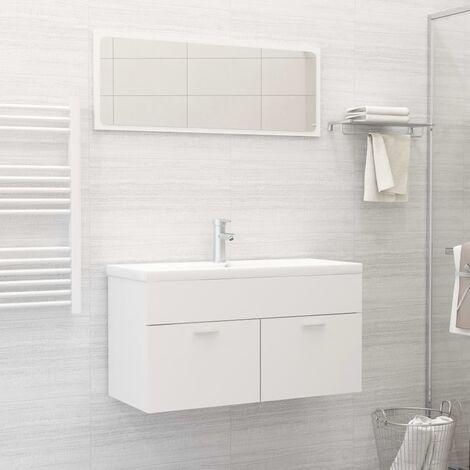 Conjunto de muebles de baño 2 piezas aglomerado blanco - Blanco