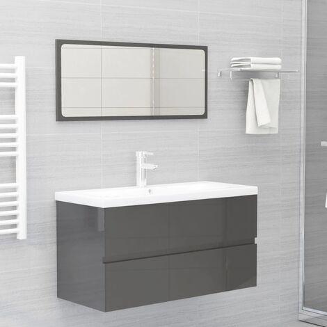 Conjunto de muebles de baño 2 piezas aglomerado gris brillante - Gris