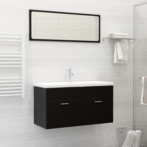 Conjunto de muebles de baño 2 piezas aglomerado negro - Negro