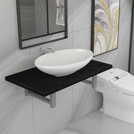 Conjunto de muebles de baño 2 piezas cerámica negro - Negro